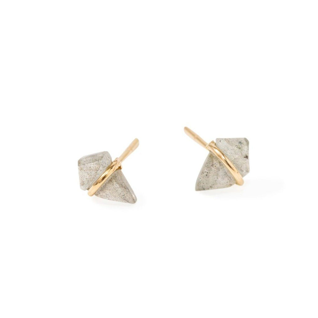 Handmade 18kt gold kite stud earrings with labradorite..