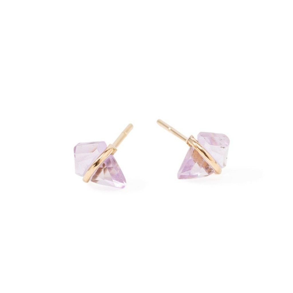 Handmade 18kt gold kite stud earrings with amethyst..