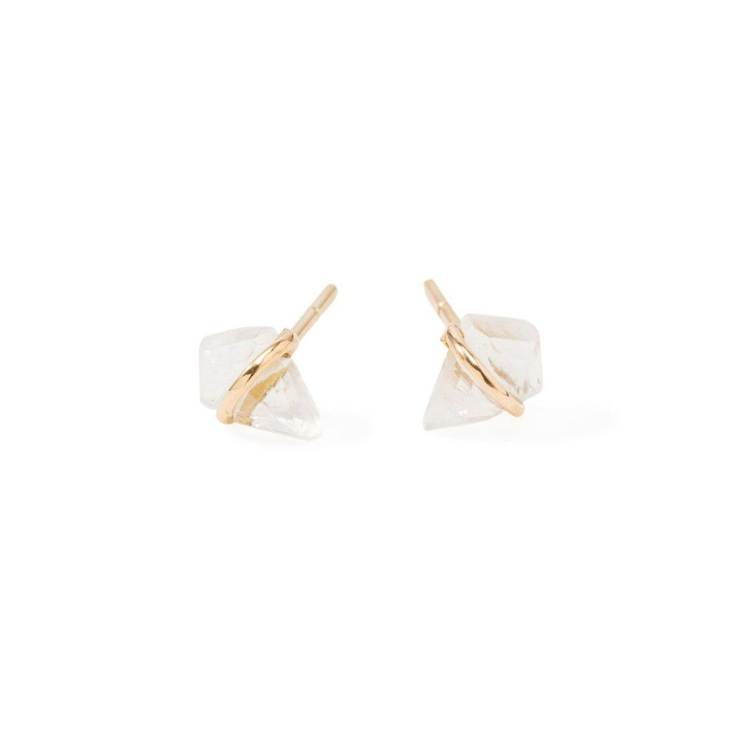 Handmade 18kt gold kite stud earrings with moonstone.