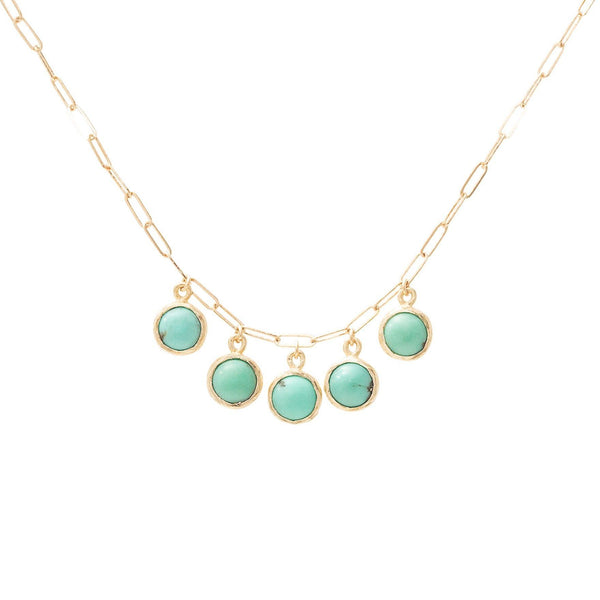 handmade necklace with five turquoise drops in 10kt gold