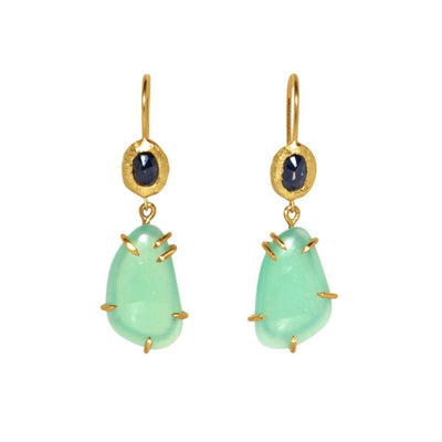 18KT Sapphire and Chrysoprase Earrings