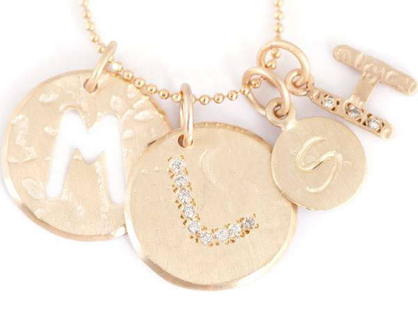 Diamond Letter charms - tiny circle