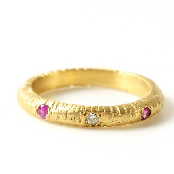 Lined Ring with Diamond and Pink Sapphires