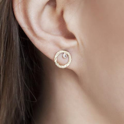 Circle Bezel Diamond Earrings
