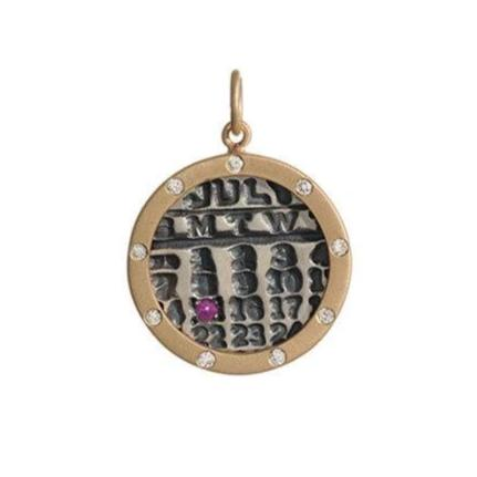 Small Silver Calendar with Gold Diamond Border - Handmade Necklace