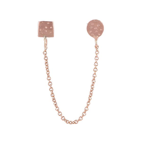 Circle and Square Chain Earring