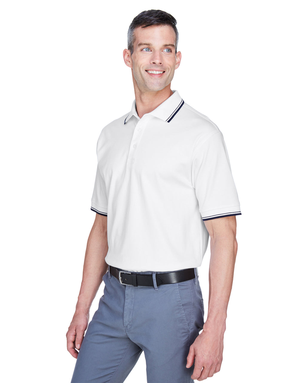 D140 - Devon & Jones Men's Tipped Perfect Pima Interlock Polo