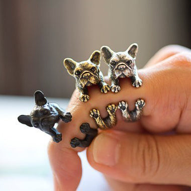 Vintage French Bulldog Adjustable Ring