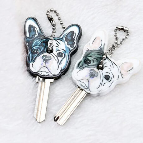 Silicone French Bulldog Dog Key Cover with Chain
