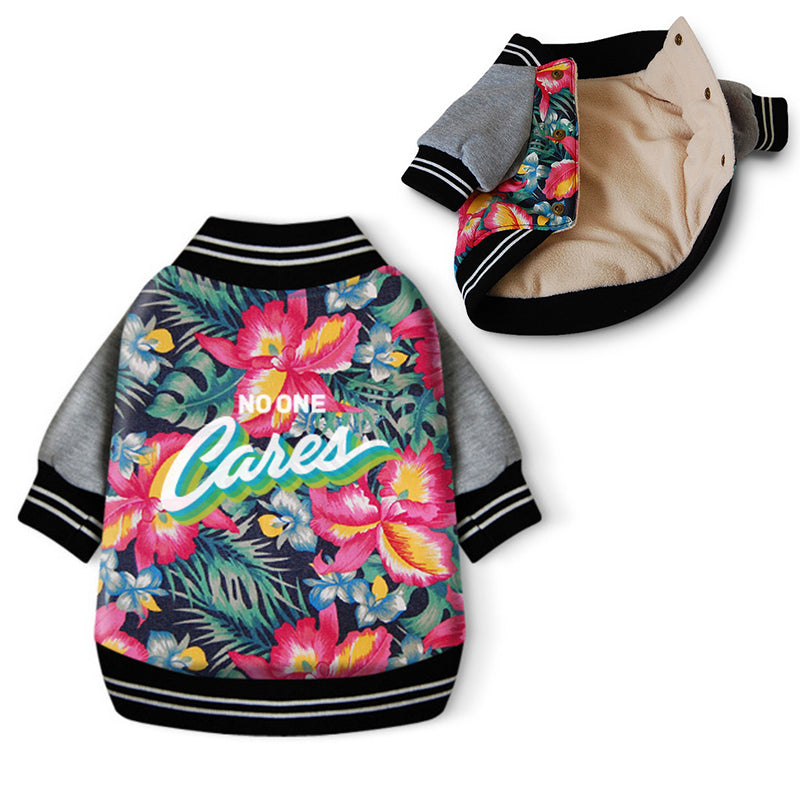 Hawaiian Floral Varsity Bomber Dog Jacket