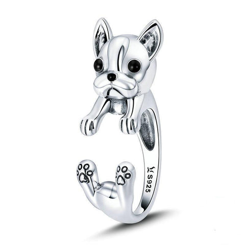 French Bulldog Sterling Silver Wrap Ring