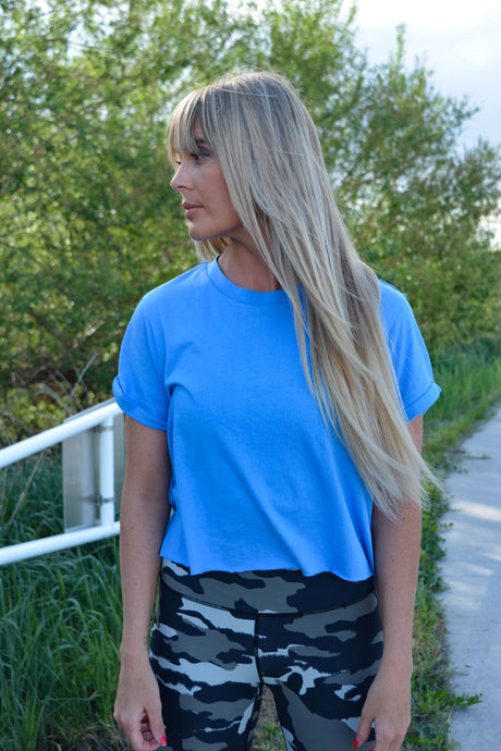 Amiele Aqua Tulip Sleeve Crop Top