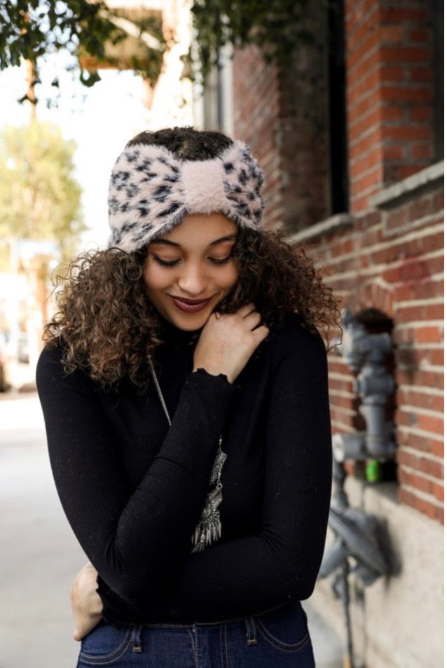 Leopard Bow Head Wrap