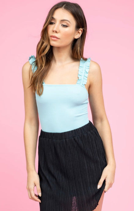 Like the Sky Ruffle Strap Bodysuit