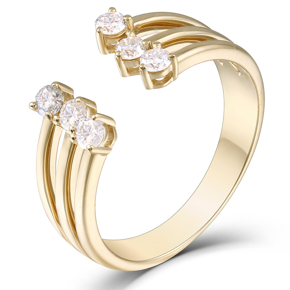 DovEggs 14K Yellow Gold Moissanite Engagement Wedding Band - MoissaniteDoveggs