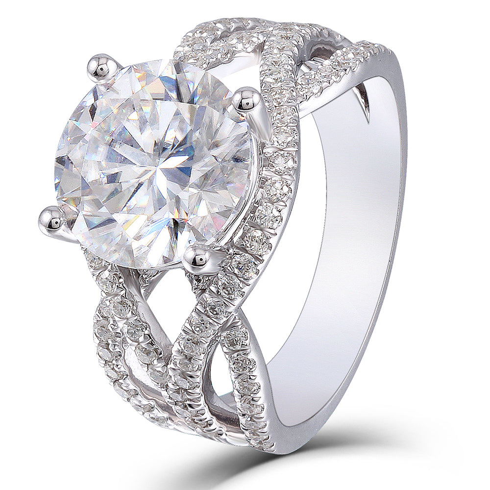 Seasons of Shine 14K White Gold 3ct Moissanite Engagement Rings - MoissaniteDoveggs