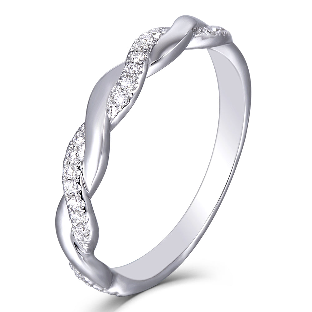 DovEggs 14K White Gold Moissanite Engagement Wedding Band