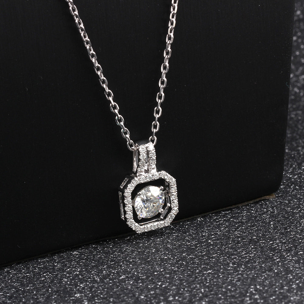 DovEggs 14K White Gold 1.34ct Moissanite Necklace