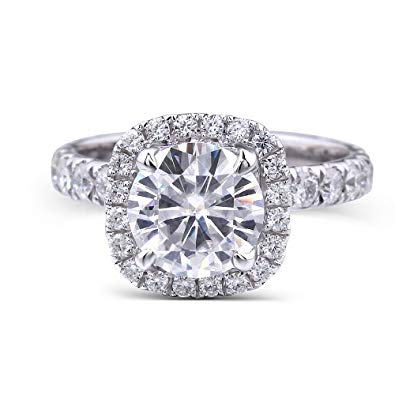 DovEggs 14K White Gold 1.5ct Moissanite Engagement Ring Set - MoissaniteDoveggs