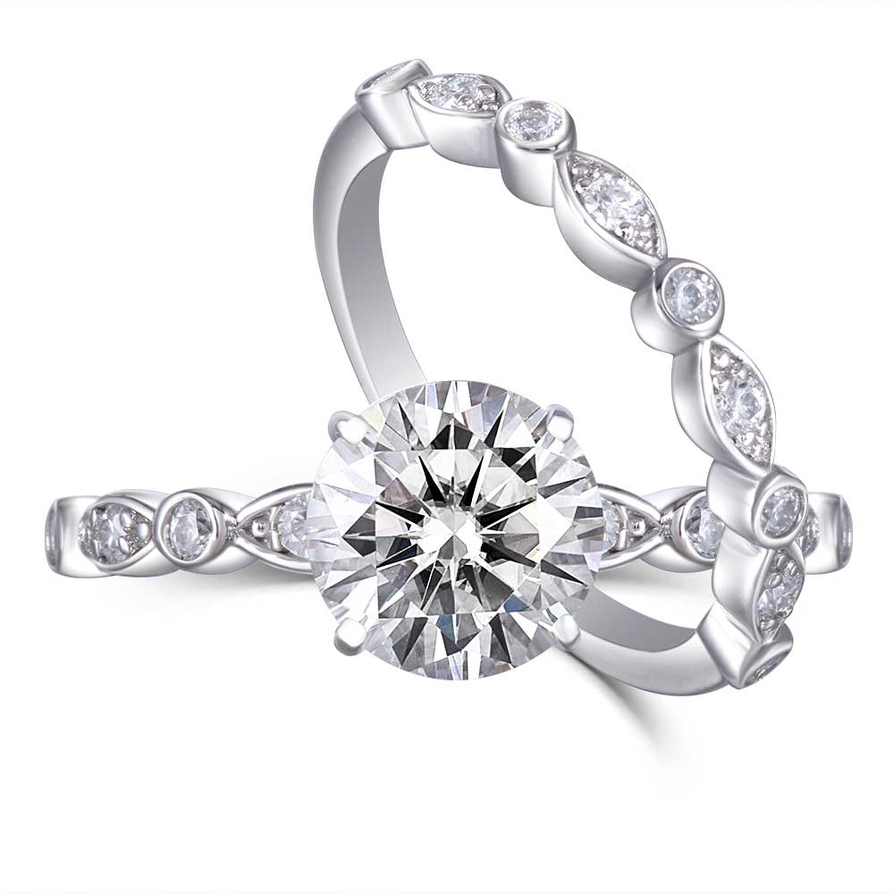 DovEggs Platinum Plated Silver 1.5ct Moissanite Engagement Ring Set