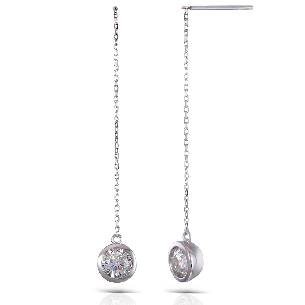 DovEggs 14K White Gold 1ct Moissanite Drop Earrings
