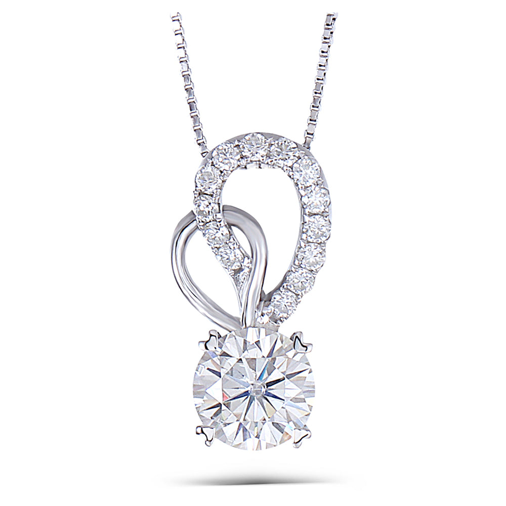 DovEggs 14K White Gold 1.5ct Moissanite Necklace