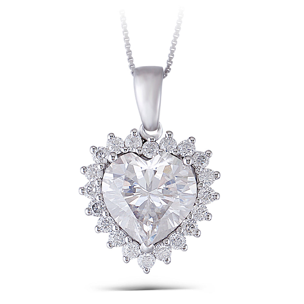 DovEggs 14K White Gold 5ct Moissanite Necklace