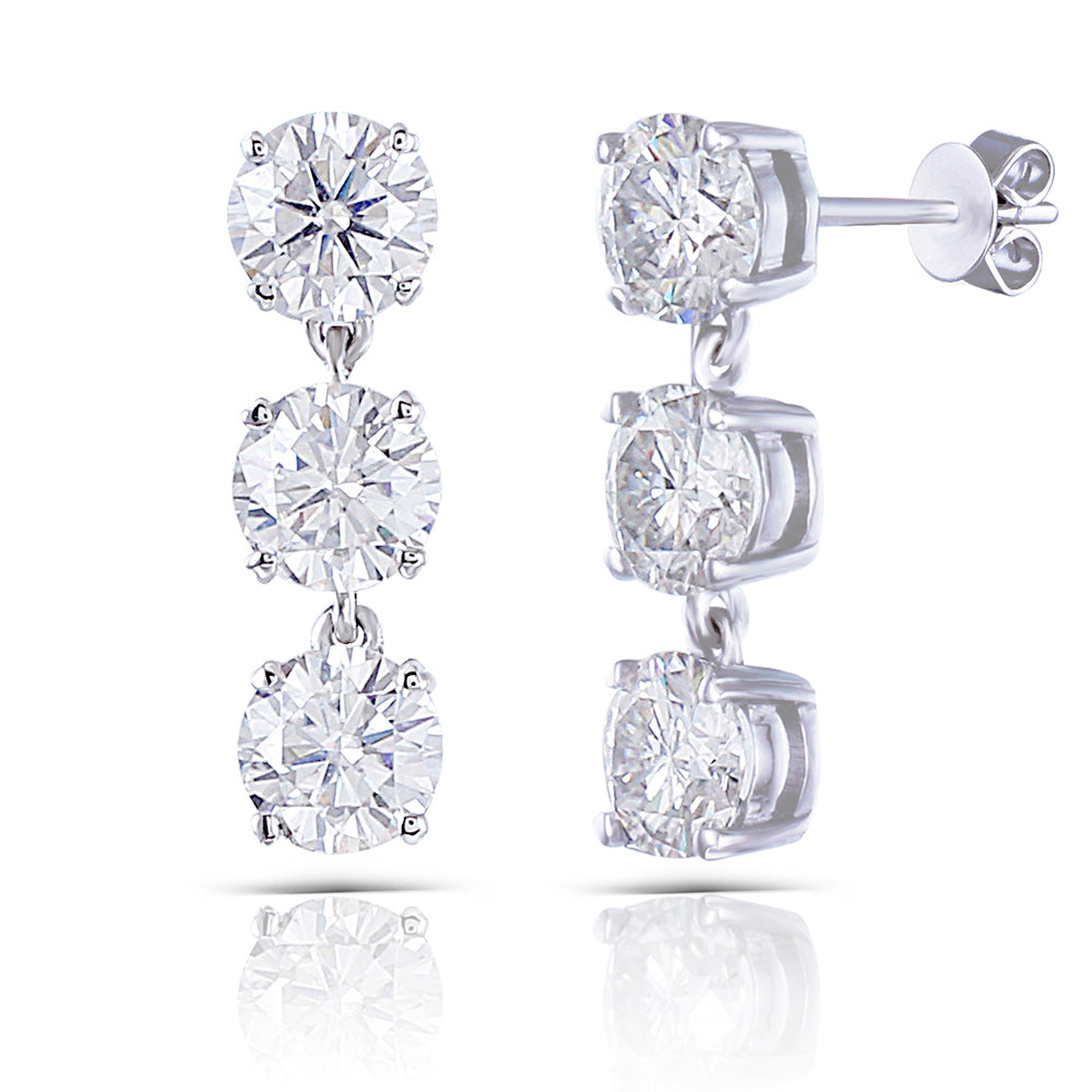 DovEggs 14K White Gold 3ct Moissanite Drop Earrings