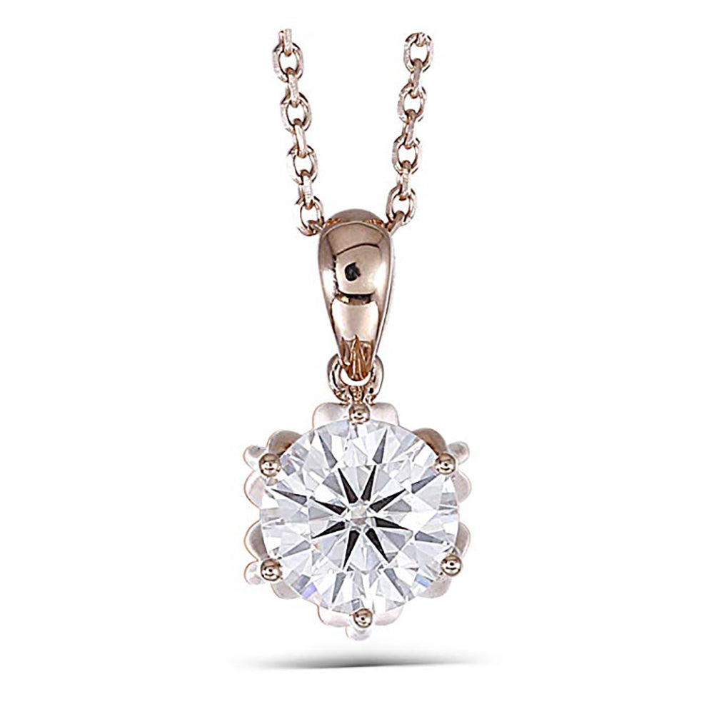 DovEggs 14K Rose Gold 1ct Moissanite Necklace