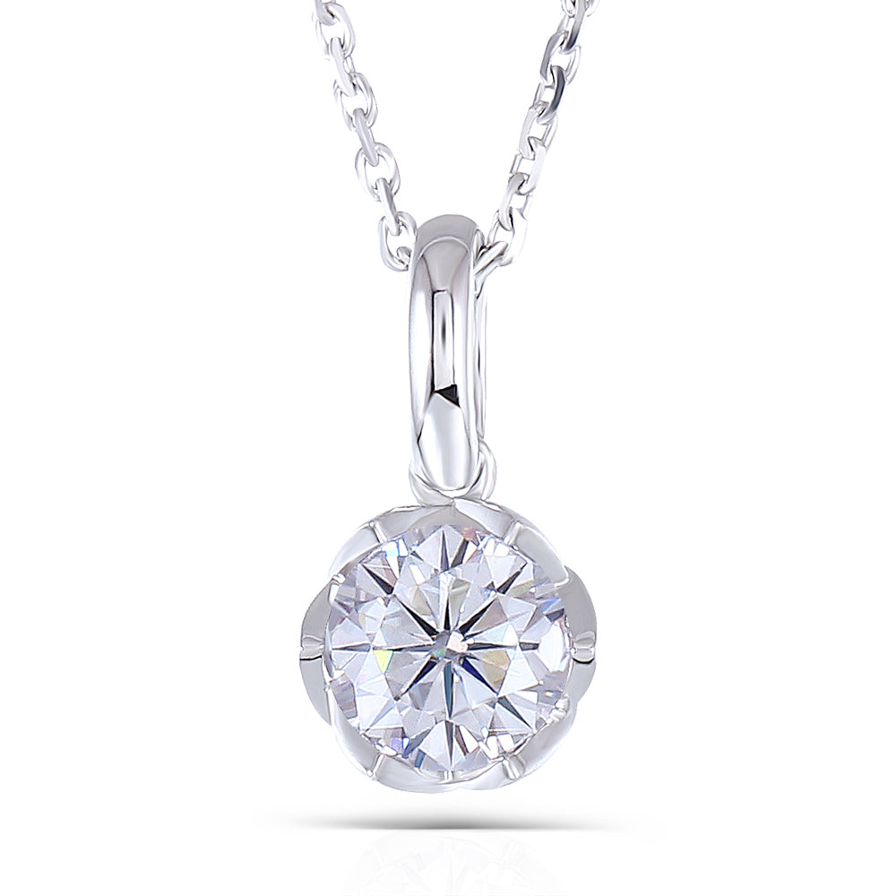 DovEggs 14k White Gold 1ct Moissanite Necklace