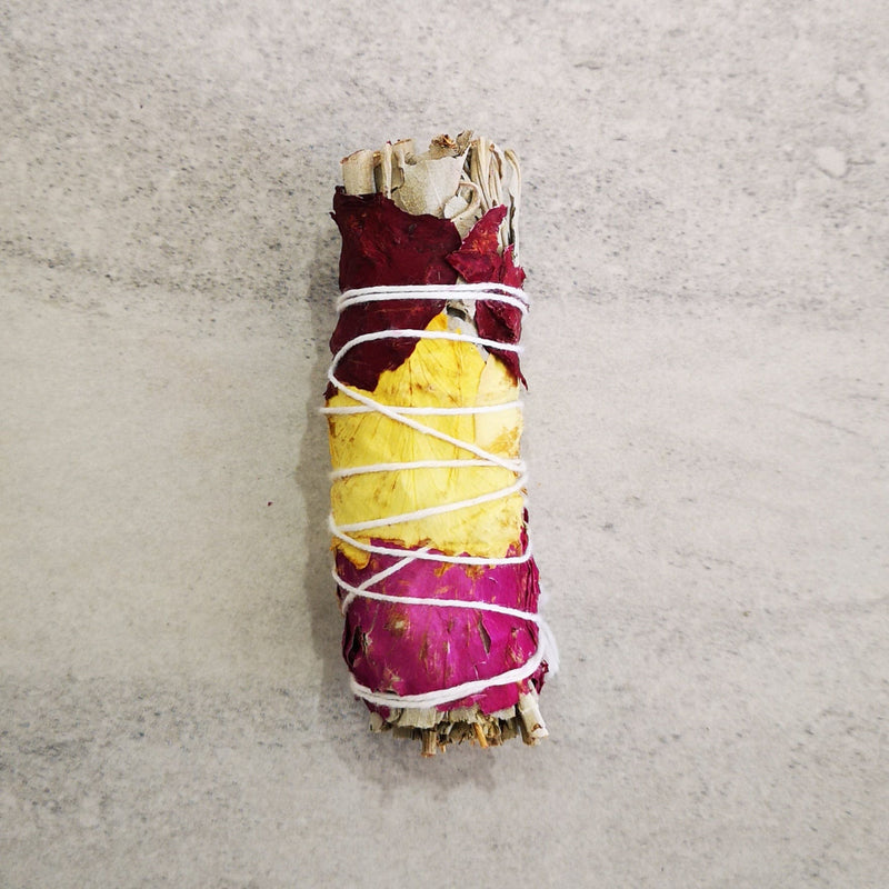 Smudging stick - White Sage with Rose Petal