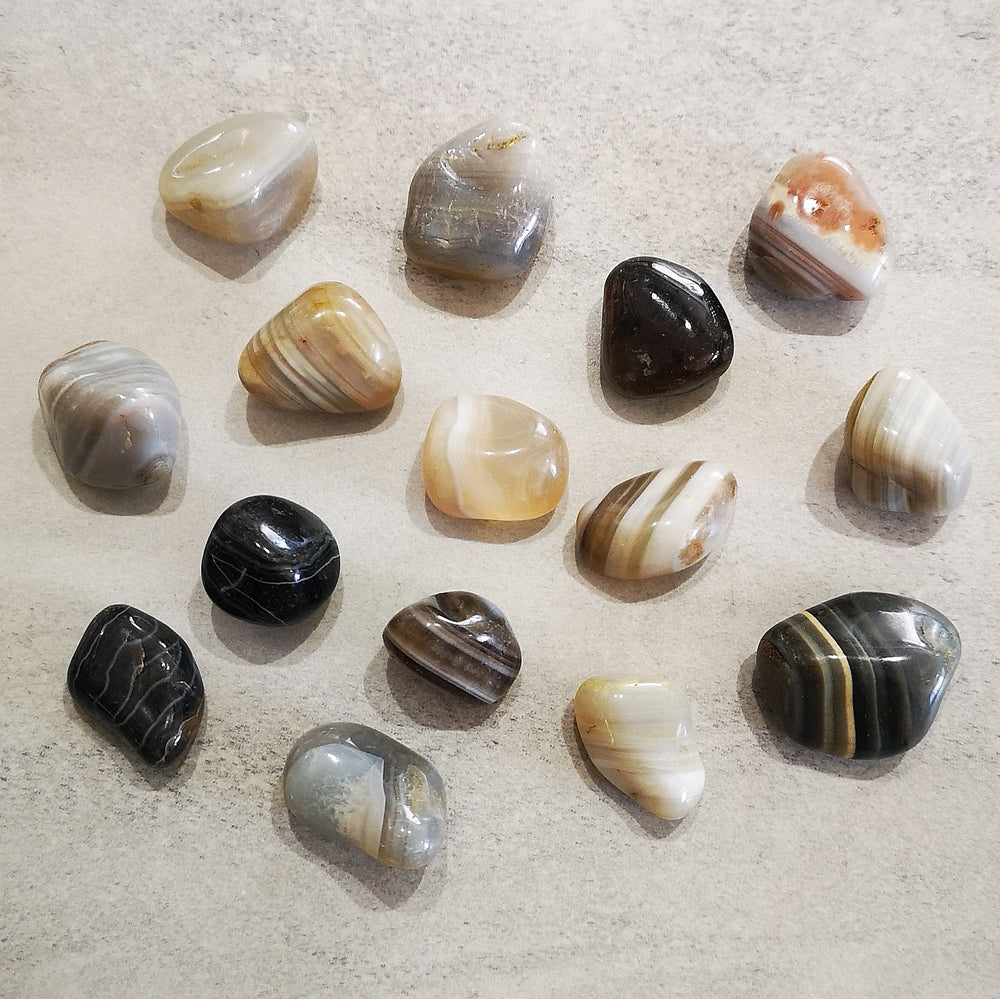 Crystals - Tumbled - Natural Banded Agate