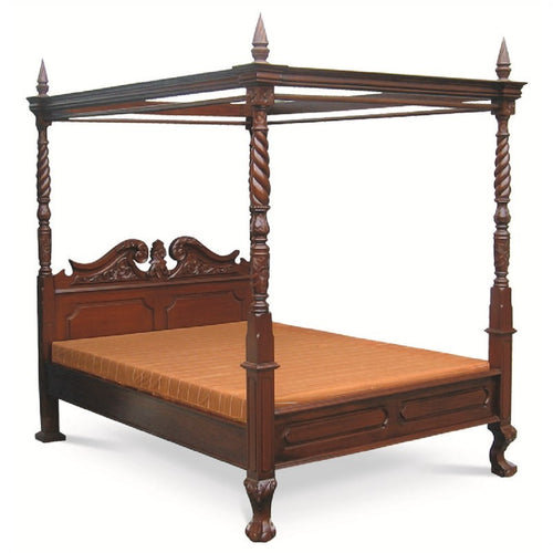 Florence Italy 4 Poster Bed Canopy Solid Timber King Size Postal Bed - Mahogany Color WIF268BS-400-CV-King-M_1