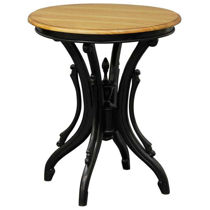 Rome Italy Side Lamp Table Solid Timber Round Wine Table, Royal Black Brown WIF268T-05-BLR