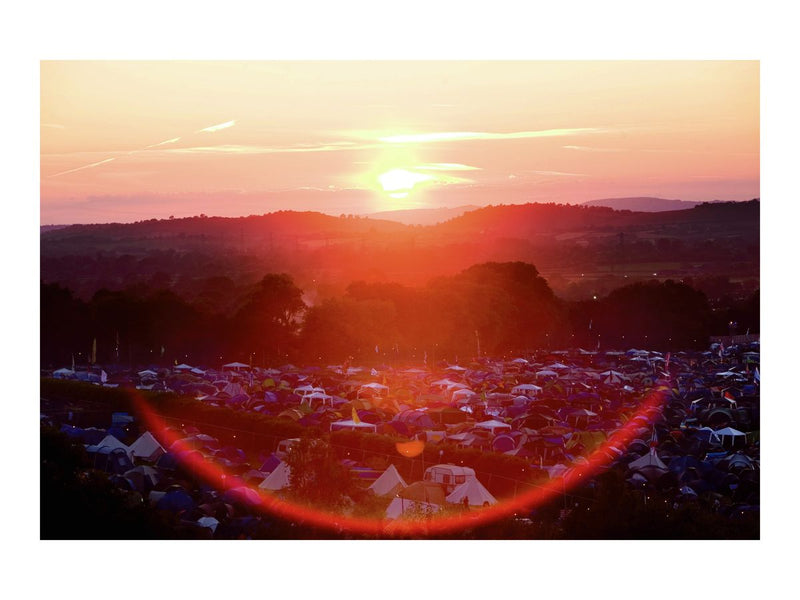 The sun sets over Glastonbury, 2010