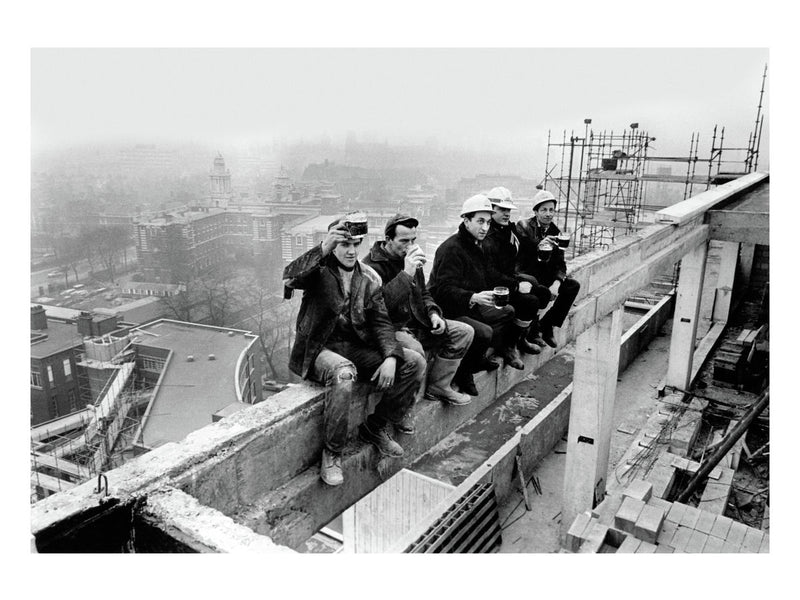 Construction workers enjoy a pint, Manchester, 1968