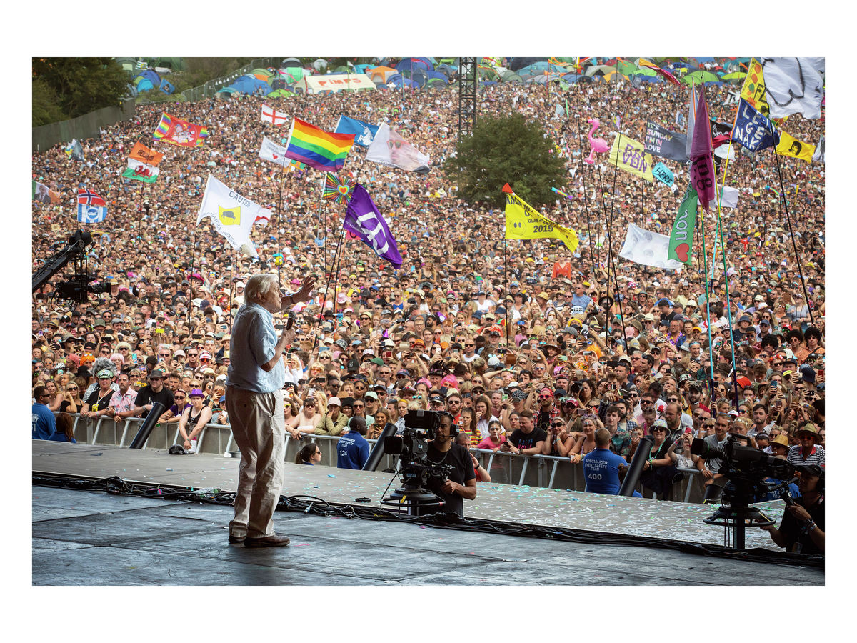 David Attenborough speaks on the Pyramid Stage, 2019