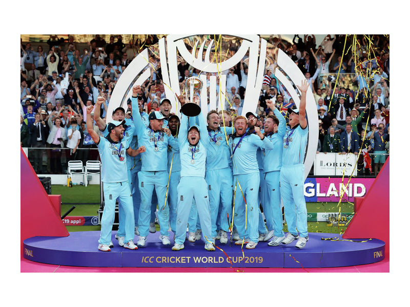 Captain Eoin Morgan lifts the World Cup trophy for England