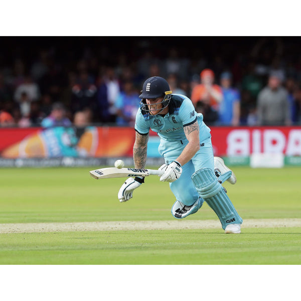 Ben Stokes clips the incoming ball with his bat and sends it flying out to the boundary