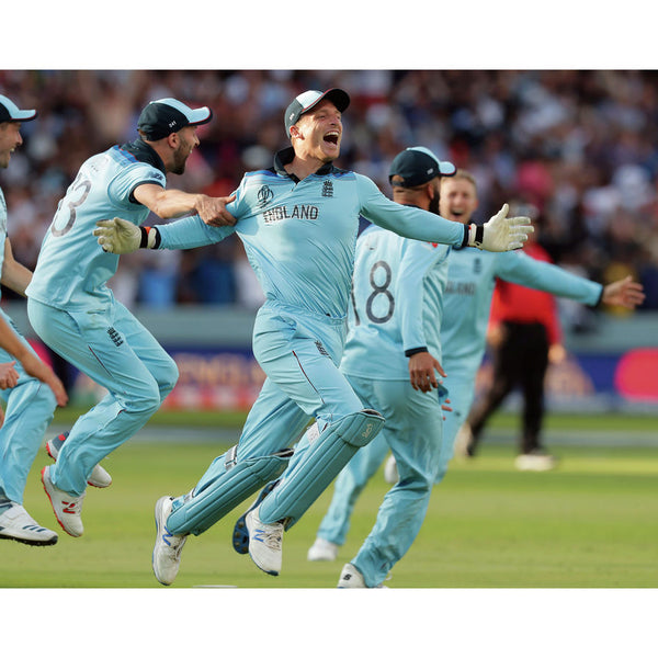 England's players are delirious in their celebration