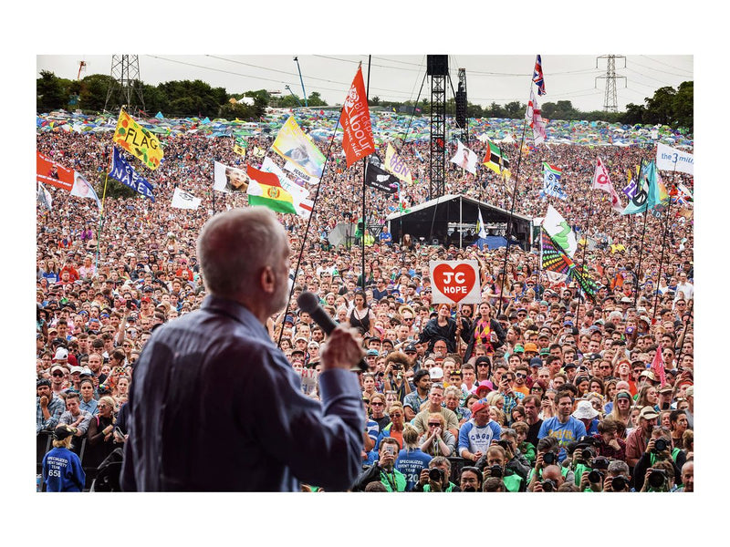 Jeremy Corbyn addresses the crowd on the Pyramid Stage, 2017