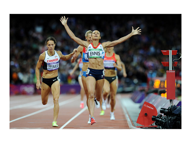 Jessica Ennis as she crosses the finishing line to win the women's heptathlon at the London 2012 Olympics - 4 August 2012