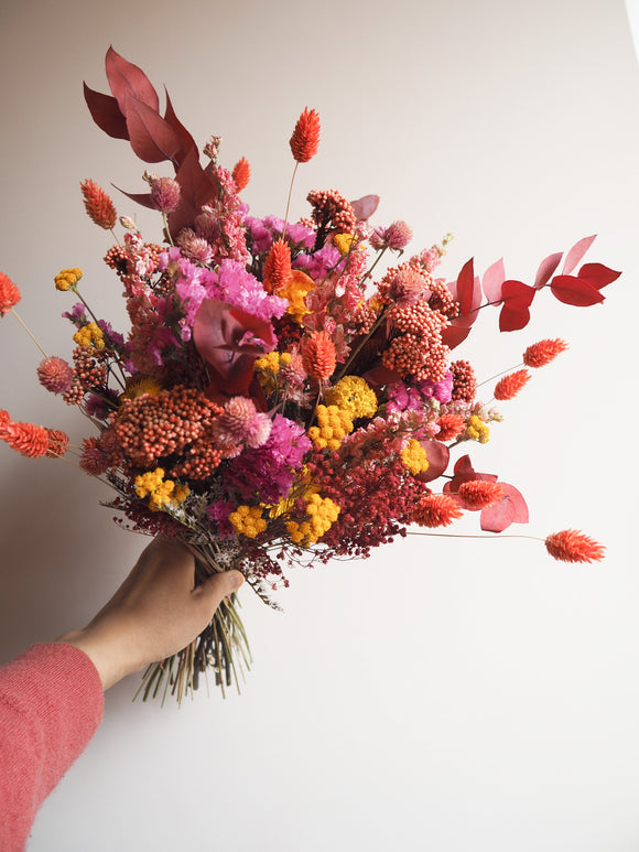 Bouquet orange et fuchsia