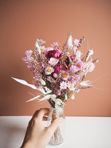 Bouquet rose+vase