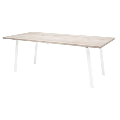 mesa de comedor rectangular, de madera, color natural, patas en color blanco, alta calidad