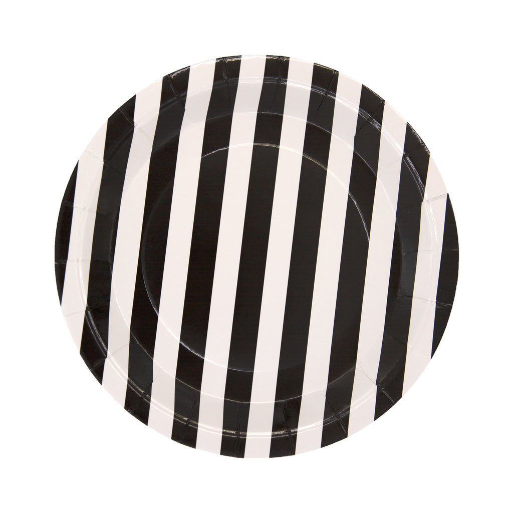 Black Pattern Paper Plate - 12 Pack-Oh My Party