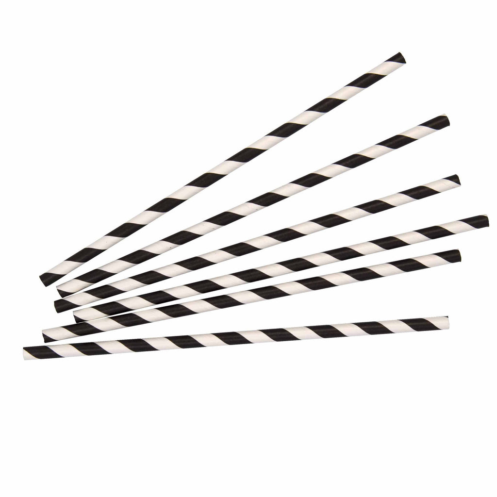 Black Stripe Paper Straw - 25 Pack-Oh My Party