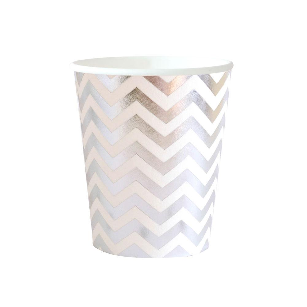 Chevron Silver Cup - 10 Pack-Oh My Party