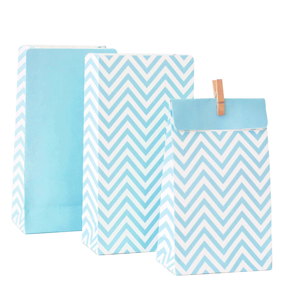 Blue Chevron Lolly Bag - 10 Pack