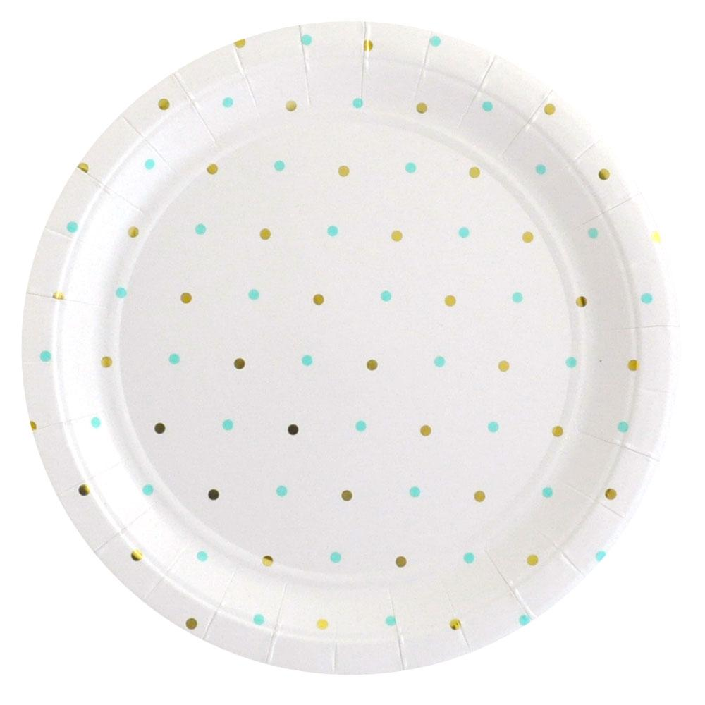 Gold and Mint Spot Plate - 10 Pack-Oh My Party